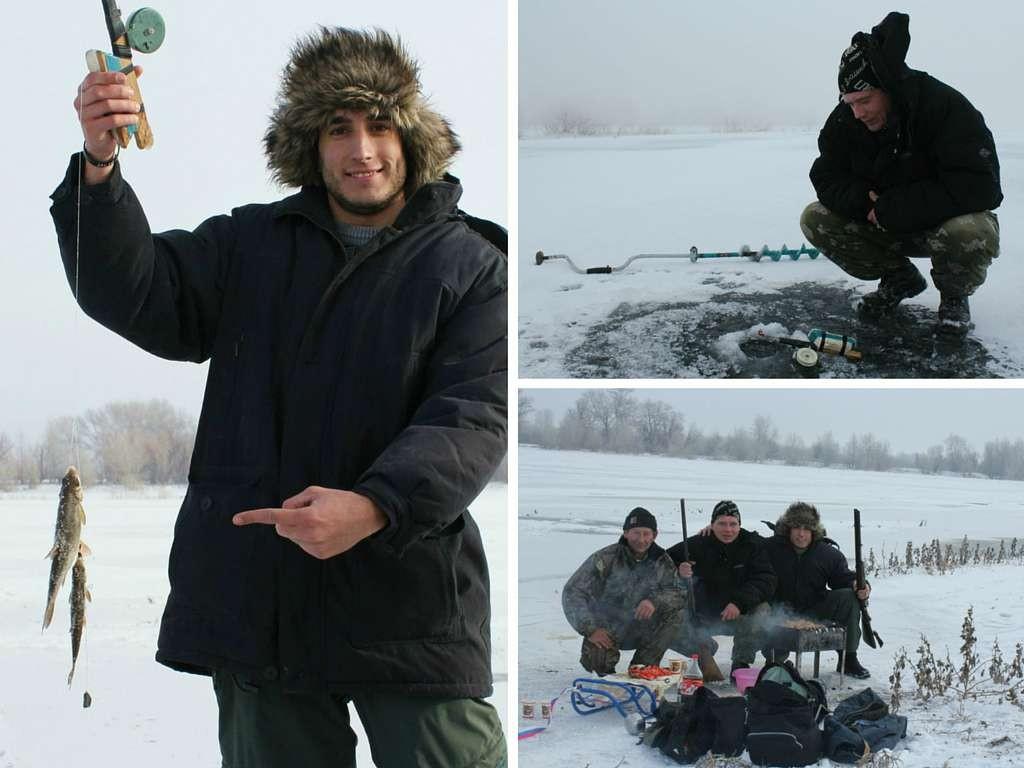 Pescando en río helado